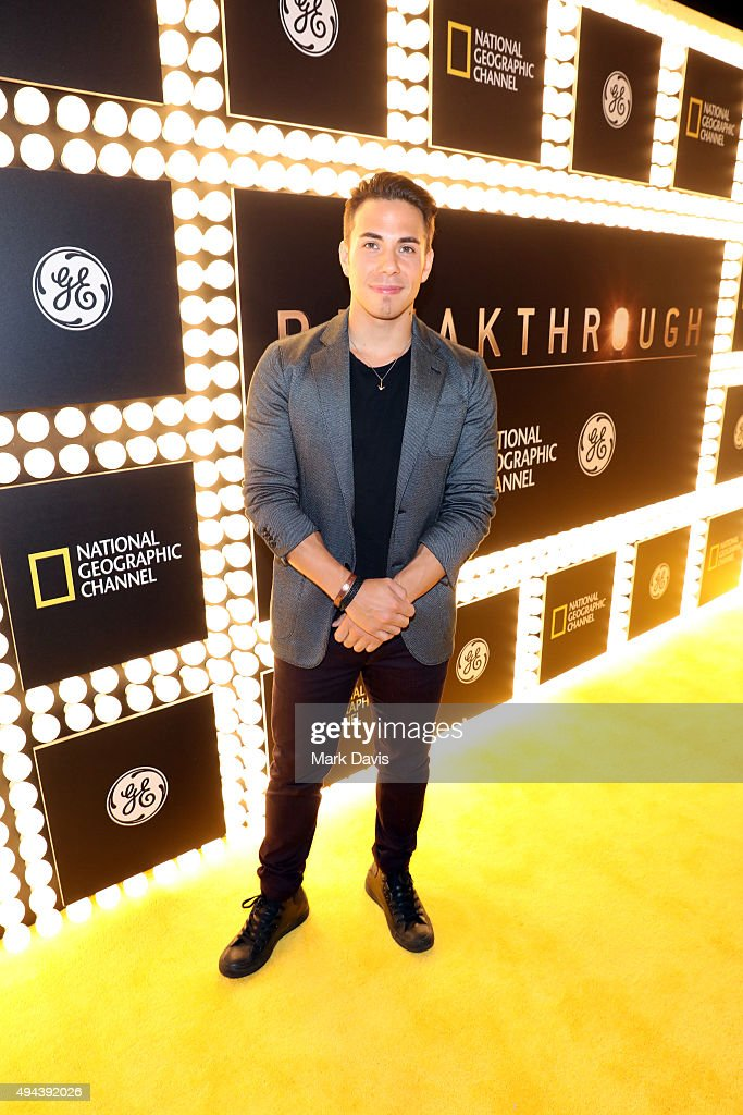 Olympic medalist Apolo Ohno attends the premiere of National Geographic Channel and GE's 'Breakthrough' at the Pacific Design Center on October 26, 2015 in West Hollywood, California.
