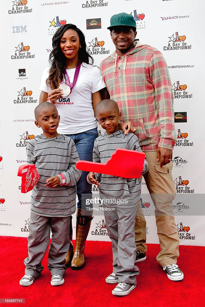 Olympic medalist Lashinda Demus and family attend Yahoo! Sports presents 'A Day Of Champions' benefiting the Bogart Pediatric Cancer Research Program at Sports Museum of Los Angeles on October 21, 2012 in Los Angeles, California.