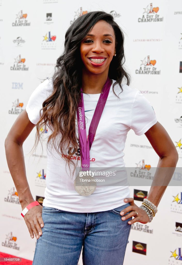 Olympic medalist Lashinda Demus attends Yahoo! Sports presents 'A Day Of Champions' benefiting the Bogart Pediatric Cancer Research Program at Sports Museum of Los Angeles on October 21, 2012 in Los Angeles, California.