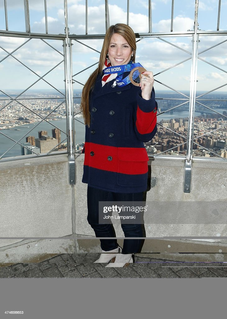 Olympic Medalist Luger Erin Hamlin Visits The Empire State Building on February 24, 2014 in New York City.
