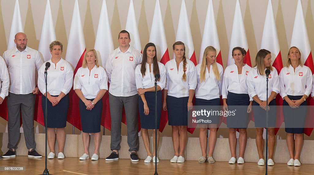 Olympic medalists from Rio before meeting with Prime Minister of Poland Beata Szydlo in Warsaw Poland on 29 August 2016
