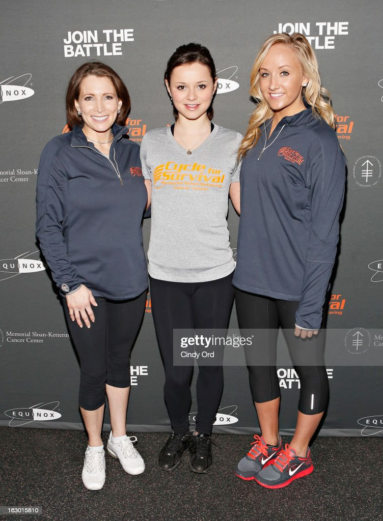 Olympic medalists Shannon Miller, Sasha Cohen and Nastia Liukin attend the 2013 Cycle For Survival Benefit at Equinox Rock Center on March 3, 2013 in New York City.