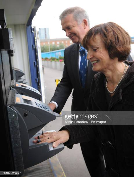 Olympic Minister Tessa Jowell and Security Minister Admiral Lord West try out new biometric entrance systems for construction workers at the Olympic...