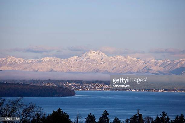 Olympic Mountains with Pink Glow of Morning Sunrise