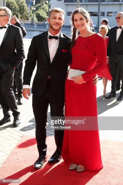 Olympic pole vault medalist Eliza McCartney arrives with partner Lukas WaltonKeim at the 54th Halberg Awards at Vector Arena on February 9 2017 in...