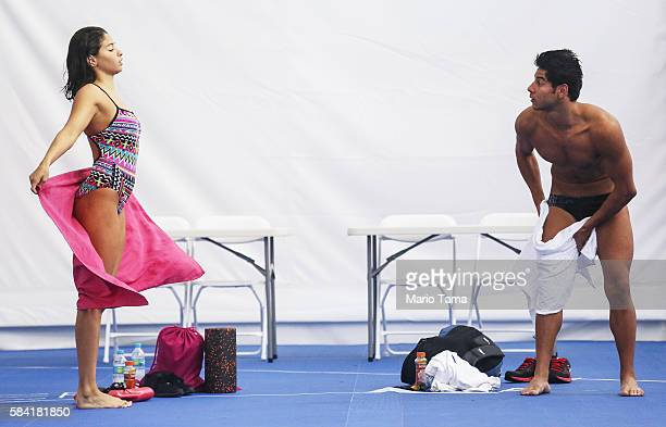 Olympic refugee team swimmers Yusra Mardini and Rami Anis dry off after training at the Olympic Aquatics Stadium ahead of the Rio 2016 Olympic Games...