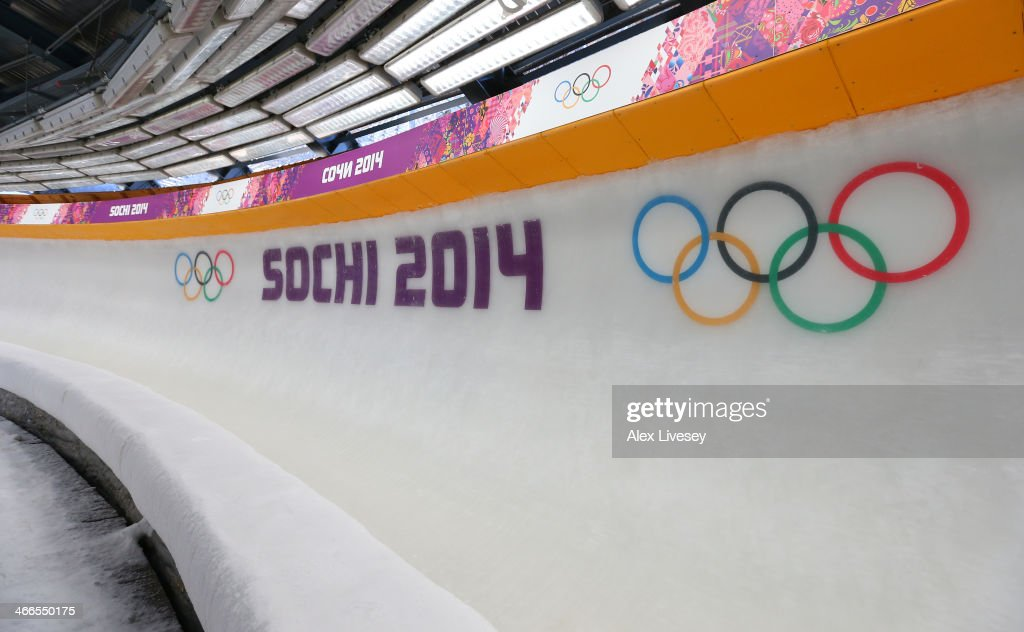 Olympic rings are seen in a general view of Sanki Sliding Centre ahead of the Sochi 2014 Winter Olympics on February 2, 2014 in Sochi, Russia.