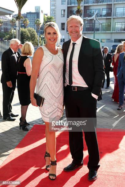Olympic rower Eric Murray and his wife Jackie Murray arrive at the 54th Halberg Awards at Vector Arena on February 9 2017 in Auckland New Zealand