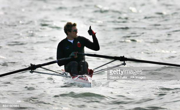 Olympic rower James Cracknell leaves Shakespeare Beach in Dover Kent on the first leg of his CrossContinent Challenge in aid of Sport Relief