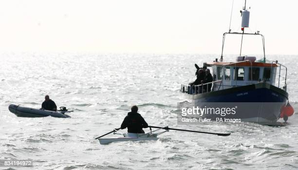 Olympic rower James Cracknell prepares to leave Shakespeare Beach in Dover Kent on the first leg of his CrossContinent Challenge in aid of Sport...