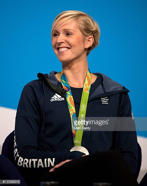 Olympic rower Vicky Thornley speaks on stage on the second day of the Conservative Party Conference 2016 at the ICC Birmingham on October 3 2016 in...