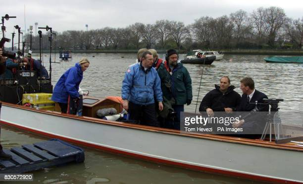 Olympic rowers Matthew Pinsent and Steve Redgrave during the television launch of the 2001 University Boat Race between Oxford and Cambridge at...