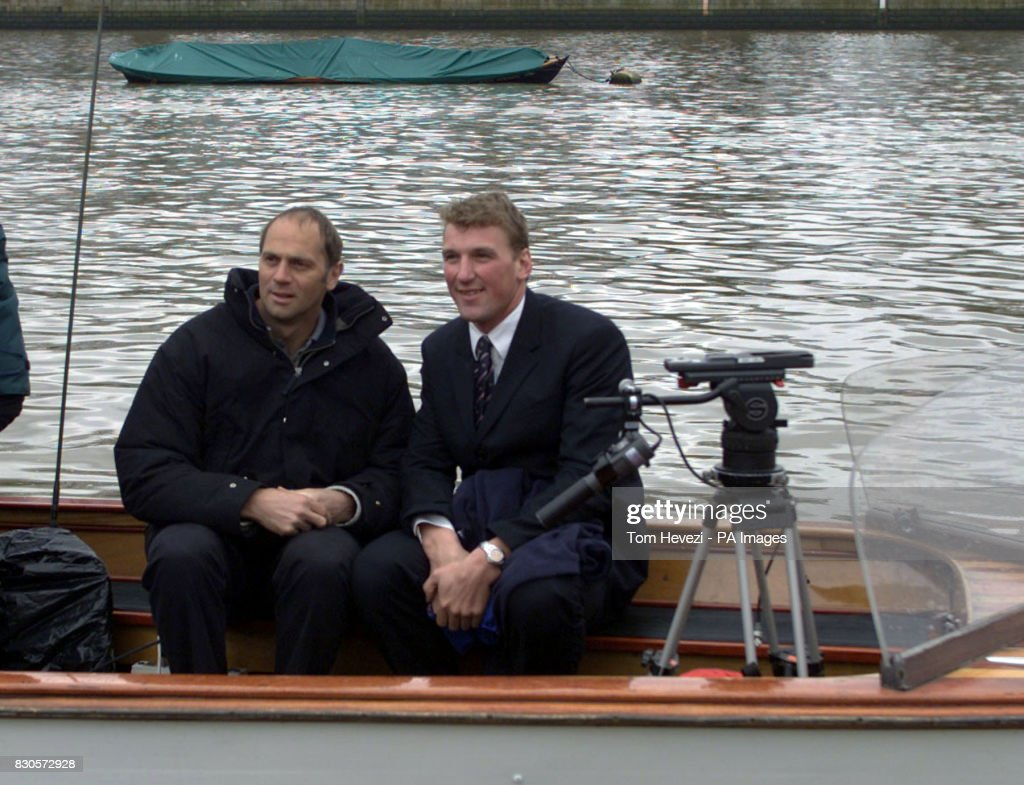 Olympic rowers Matthew Pinsent (R) and Steve Redgrave during the television launch of the 2001 University Boat Race between Oxford and Cambridge at Putney, south London.