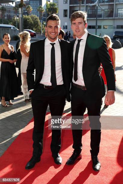 Olympic sailors Blair Tuke and Peter Burling arrive at the 54th Halberg Awards at Vector Arena on February 9 2017 in Auckland New Zealand