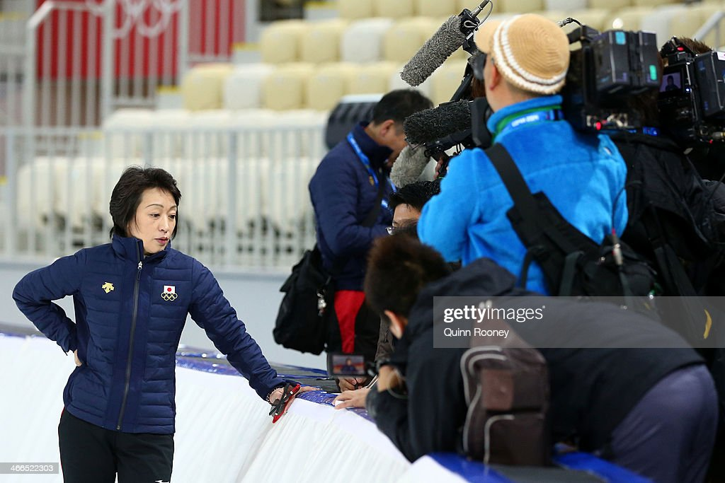 Olympic silver medalist and Chef de Mission of Japan Seiko Hashimoto speaks to members of the media during a Japan Speed Skating team training session ahead of the Sochi 2014 Winter Olympics at Adler Arena Skating Center on February 2, 2014 in Sochi, Russia.