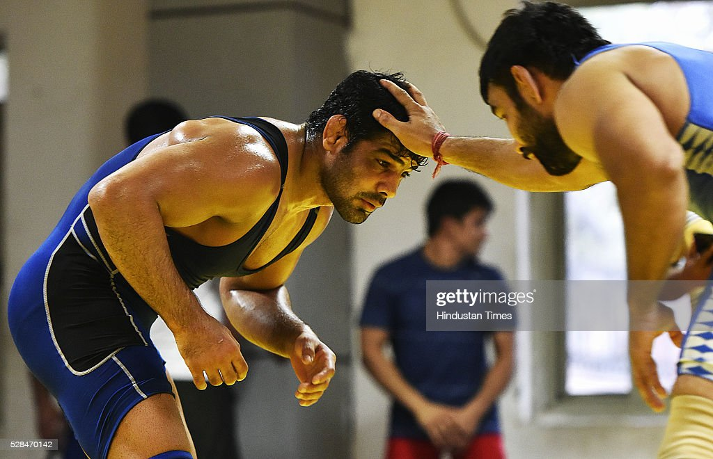Olympic Silver medalist wrestler Sushil Kumar during the practice session at Chhattarshal Stadium on May 5, 2016 in New Delhi, India. Sushil will have to beat Narsingh Yadav in the mens 74kg trials to reach Rio. Narsingh has already earned India an Olympic quota place by winning a bronze in the World Championship in Las Vegas in September last year.
