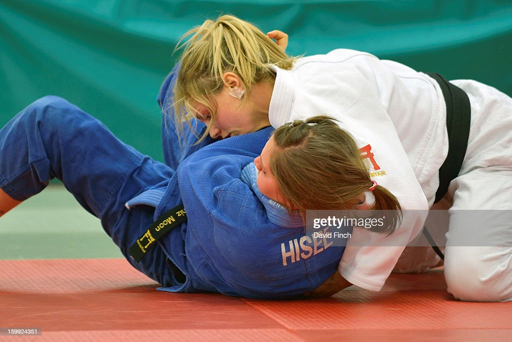 Olympic silver medallist, Gemma Gibbons of the Metro Judo Club (white), defeated Deniz Moon of the Tsukuru Judo Academy by ippon (10 points) with this hold on her way to the British u78kgs title, her first ever, at the British Senior Championships on Sunday, January 20, 2013 at the English Institute of Sport, Sheffield, England, UK.