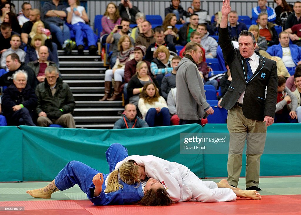Olympic silver medallist, <a gi-track='captionPersonalityLinkClicked' href=/galleries/search?phrase=Gemma+Gibbons&family=editorial&specificpeople=7541729 ng-click='$event.stopPropagation()'>Gemma Gibbons</a> of the Metro Judo Club (white), defeated Deniz Moon of the Tsukuru Judo Academy by ippon (10 points) with this hold on her way to the British u78kgs title, her first ever, at the British Senior Championships on Sunday, January 20, 2013 at the English Institute of Sport, Sheffield, England, UK.