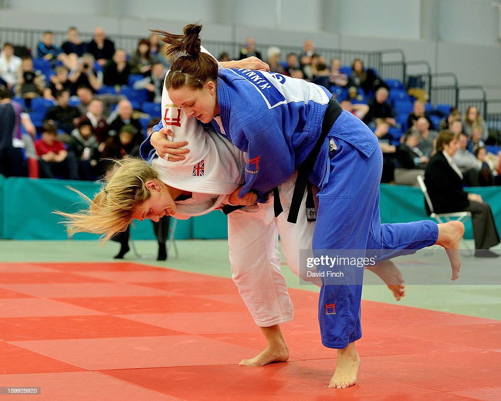 Olympic silver medallist, <a gi-track='captionPersonalityLinkClicked' href=/galleries/search?phrase=Gemma+Gibbons&family=editorial&specificpeople=7541729 ng-click='$event.stopPropagation()'>Gemma Gibbons</a> of the Metro Judo Club here attacking with an inner thigh throw, defeated Caroline Kinnane of the Renrukan Judo Club in 2:20 mins to win the British u78kgs title, her first ever, at the British Senior Championships on Sunday, January 20, 2013 at the English Institute of Sport, Sheffield, England, UK.