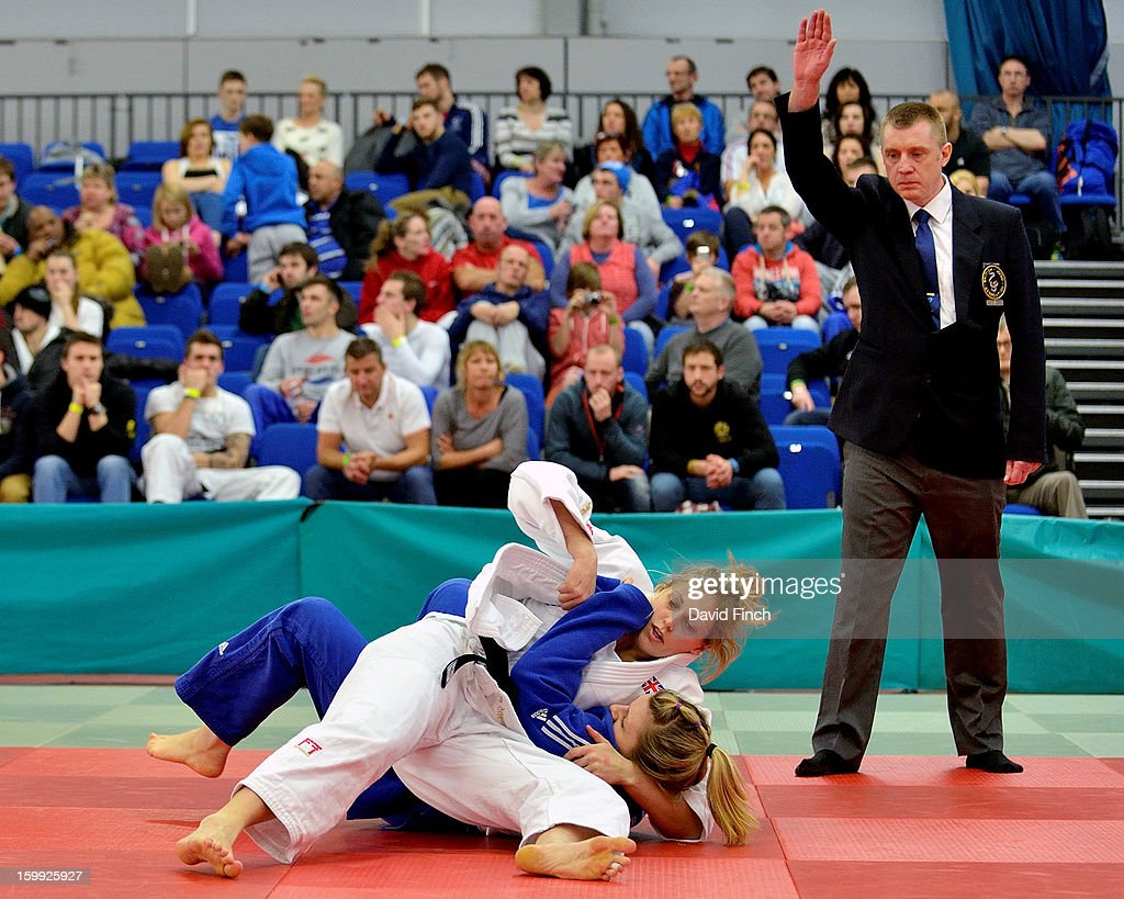 Olympic silver medallist, <a gi-track='captionPersonalityLinkClicked' href=/galleries/search?phrase=Gemma+Gibbons&family=editorial&specificpeople=7541729 ng-click='$event.stopPropagation()'>Gemma Gibbons</a> of the Metro Judo Club, defeated Lois Brown of Grimsby Judo Club in 54 seconds on her way to the British u78kgs title, her first ever, at the British Senior Championships on Sunday, January 20, 2013 at the English Institute of Sport, Sheffield, England, UK.