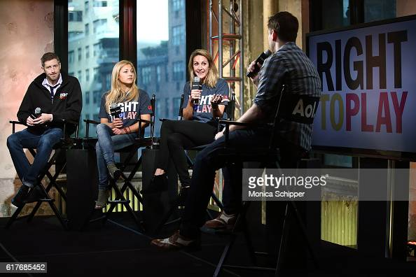 Olympic skater Joey Cheek rock climber Sasha DiGiulian and Olympic swimmer Summer Sanders speak with Olympic fencer Tim Morehouse at The Build Series...