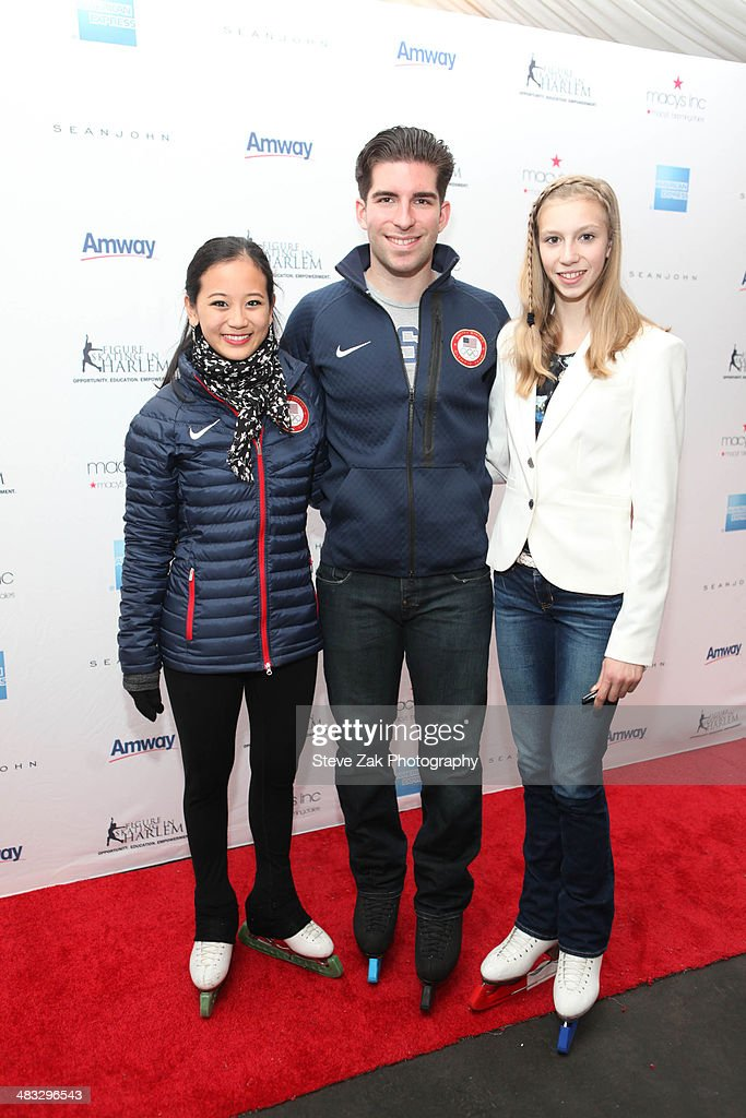 Olympic skaters <a gi-track='captionPersonalityLinkClicked' href=/galleries/search?phrase=Felicia+Zhang&family=editorial&specificpeople=7338307 ng-click='$event.stopPropagation()'>Felicia Zhang</a>, <a gi-track='captionPersonalityLinkClicked' href=/galleries/search?phrase=Nathan+Bartholomay&family=editorial&specificpeople=9726215 ng-click='$event.stopPropagation()'>Nathan Bartholomay</a> and <a gi-track='captionPersonalityLinkClicked' href=/galleries/search?phrase=Polina+Edmunds&family=editorial&specificpeople=11711394 ng-click='$event.stopPropagation()'>Polina Edmunds</a> attend the Skating with the Stars Gala at Trump Rink at Central Park on April 7, 2014 in New York City.