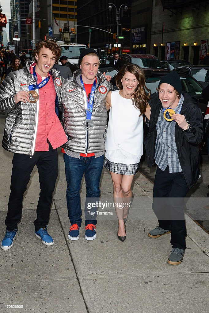 Olympic Ski Slopestyle Bronze Medalist <a gi-track='captionPersonalityLinkClicked' href=/galleries/search?phrase=Nick+Goepper&family=editorial&specificpeople=9021155 ng-click='$event.stopPropagation()'>Nick Goepper</a>, 2014 Olympic Ski Slopestyle Silver Medalist <a gi-track='captionPersonalityLinkClicked' href=/galleries/search?phrase=Gus+Kenworthy&family=editorial&specificpeople=6164869 ng-click='$event.stopPropagation()'>Gus Kenworthy</a>, actress <a gi-track='captionPersonalityLinkClicked' href=/galleries/search?phrase=Keri+Russell&family=editorial&specificpeople=203250 ng-click='$event.stopPropagation()'>Keri Russell</a>, and 2014 Olympic Ski Slopestyle Gold Medalist <a gi-track='captionPersonalityLinkClicked' href=/galleries/search?phrase=Joss+Christensen&family=editorial&specificpeople=7454278 ng-click='$event.stopPropagation()'>Joss Christensen</a> leave the 'Late Show With David Letterman' taping at the Ed Sullivan Theater on February 20, 2014 in New York City.