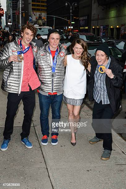 2014 Olympic Ski Slopestyle Bronze Medalist Nick Goepper 2014 Olympic Ski Slopestyle Silver Medalist Gus Kenworthy actress Keri Russell and 2014...