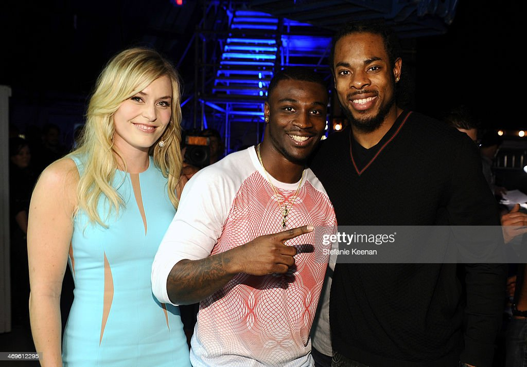 Olympic skier Lindsey Vonn, college football player Chris Davis of the Auburn Tigers, and NFL player Richard Sherman of the Seattle Seahawks attend Cartoon Network's fourth annual Hall of Game Awards at Barker Hangar on February 15, 2014 in Santa Monica, California.
