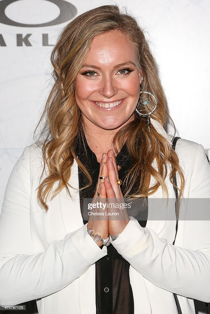 Olympic snowboarder Jamie Anderson arrives at Oakley's Disruptive by Design at Red Studios on February 24, 2014 in Los Angeles, California.