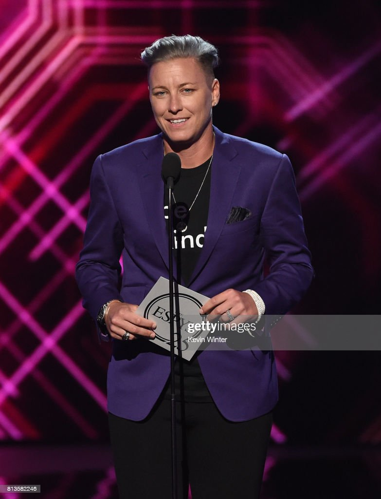 Olympic soccer player Abby Wambach speaks onstage at The 2017 ESPYS at Microsoft Theater on July 12, 2017 in Los Angeles, California.
