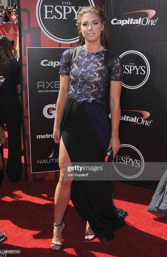Olympic soccer player Alex Morgan arrives at The 2015 ESPYS at Microsoft Theater on July 15, 2015 in Los Angeles, California.