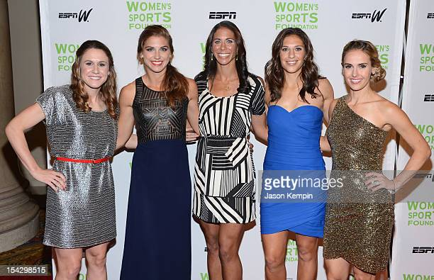 Olympic soccer players Heather O' Reilly Alexandra Morgan Shannon Boxx Carli Lloyd and Heather Mitts attend the 33rd Annual Salute To Women In Sports...