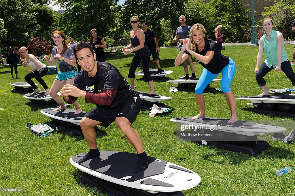 Olympic speed skater Apolo Ohno (L) and sports broadcaster <a gi-track='captionPersonalityLinkClicked' href=/galleries/search?phrase=Erin+Andrews&family=editorial&specificpeople=834273 ng-click='$event.stopPropagation()'>Erin Andrews</a> attend the Limited Edition SUBWAY Bag Unveling at Clinton Cove at Pier 96 on June 12, 2013 in New York City.