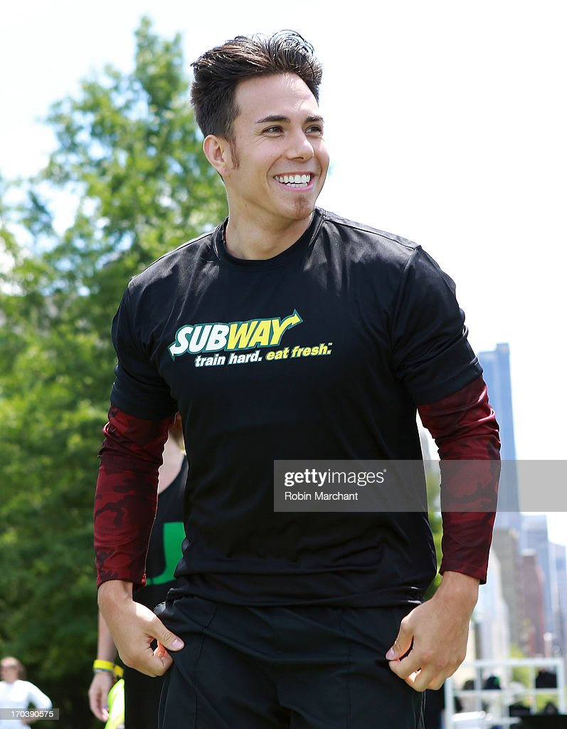 Olympic speed skater Apolo Ohno attends Limited Edition SUBWAY Bag Unveiling With Apolo Ohnoat Clinton Cove At Pier 96 on June 12, 2013 in New York City.