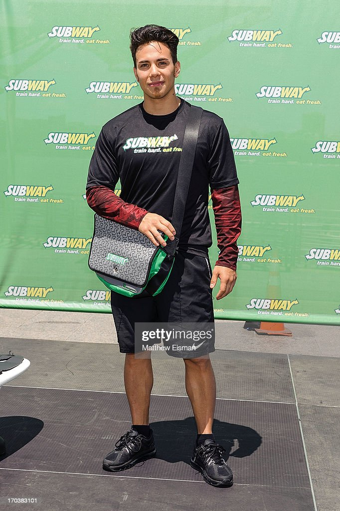 Olympic speed skater Apolo Ohno attends the Limited Edition SUBWAY Bag Unveling at Clinton Cove at Pier 96 on June 12, 2013 in New York City.