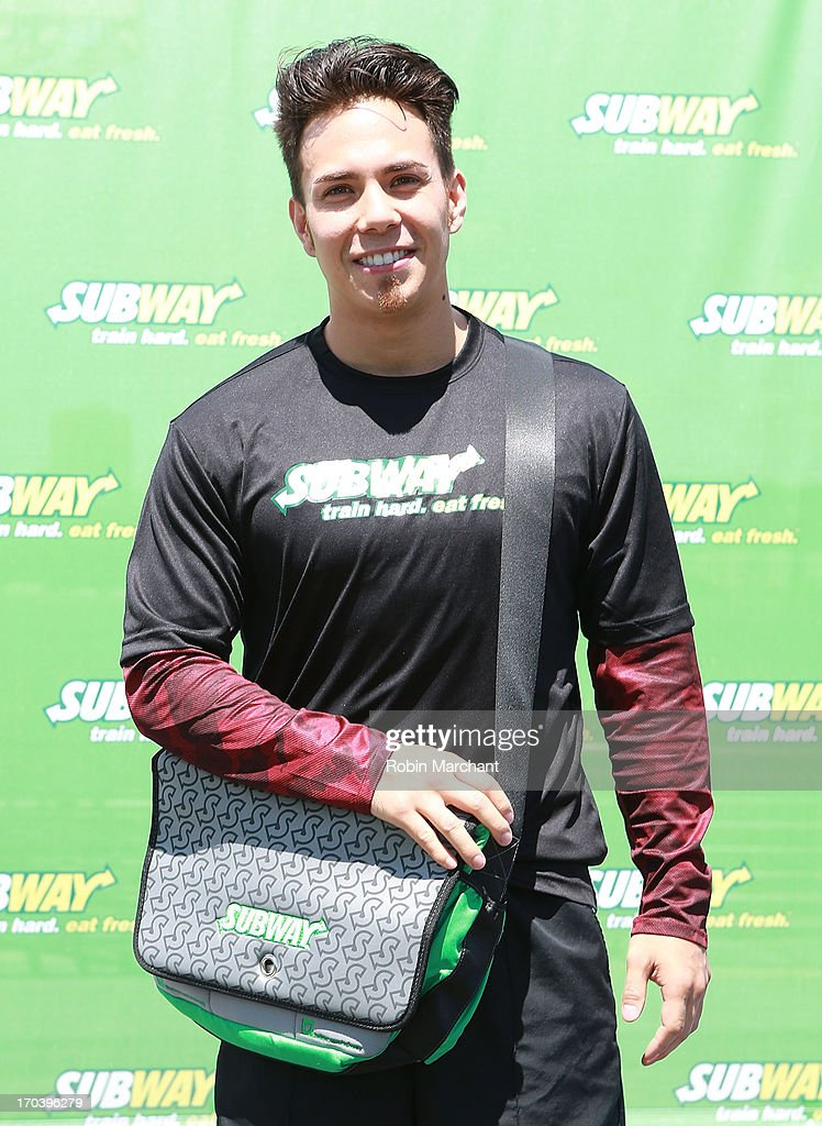 Olympic speed skater Apolo Ohno attends the limited edition SUBWAY bag unveiling with Apolo Ohno at Clinton Cove At Pier 96 on June 12, 2013 in New York City.