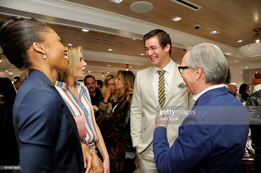 Olympic Sprinter Allyson Felix, Dee Hilfiger, Olympic Swimmer Nathan Adrian and fashion designer Tommy Hilfiger attend Tommy Hilfiger New West Coast Flagship Opening on Robertson Boulevard on February 13, 2013 in West Hollywood, California.