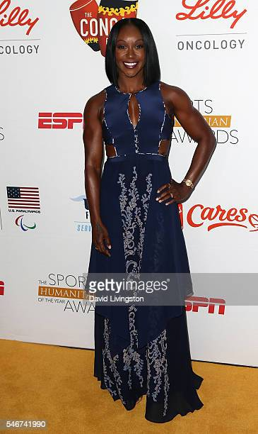 Olympic sprinter Carmelita Jeter attends the 2nd Annual Sports Humanitarian of the Year Awards at the Conga Room on July 12 2016 in Los Angeles...