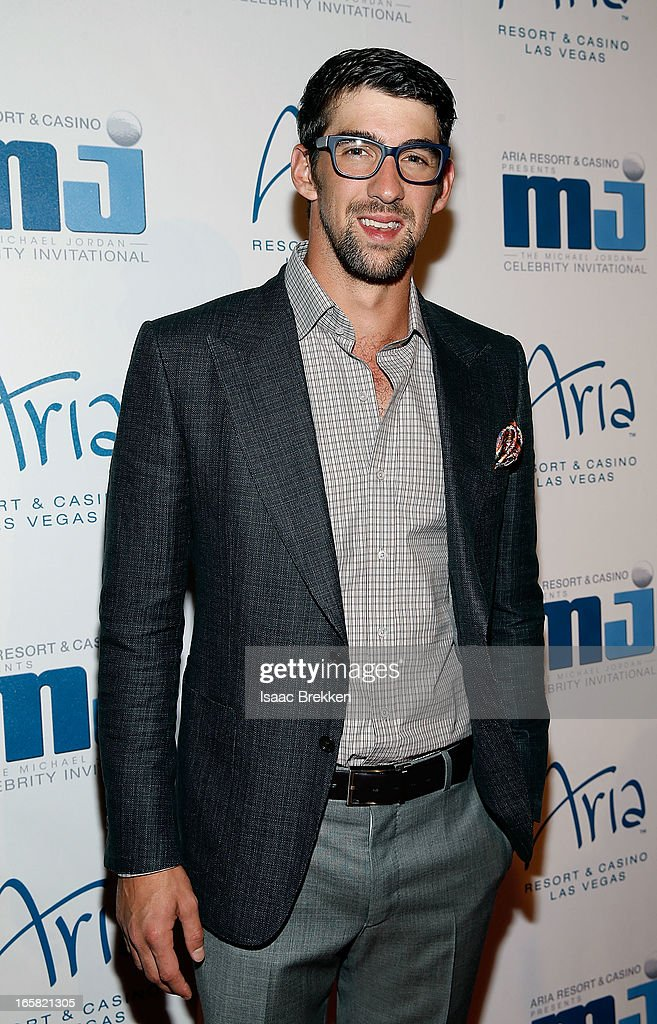 Olympic swimer <a gi-track='captionPersonalityLinkClicked' href=/galleries/search?phrase=Michael+Phelps&family=editorial&specificpeople=162698 ng-click='$event.stopPropagation()'>Michael Phelps</a> arrives at the 12th Annual Michael Jordan Celebrity Invitational Gala At ARIA Resort & Casino on April 5, 2013 in Las Vegas, Nevada.