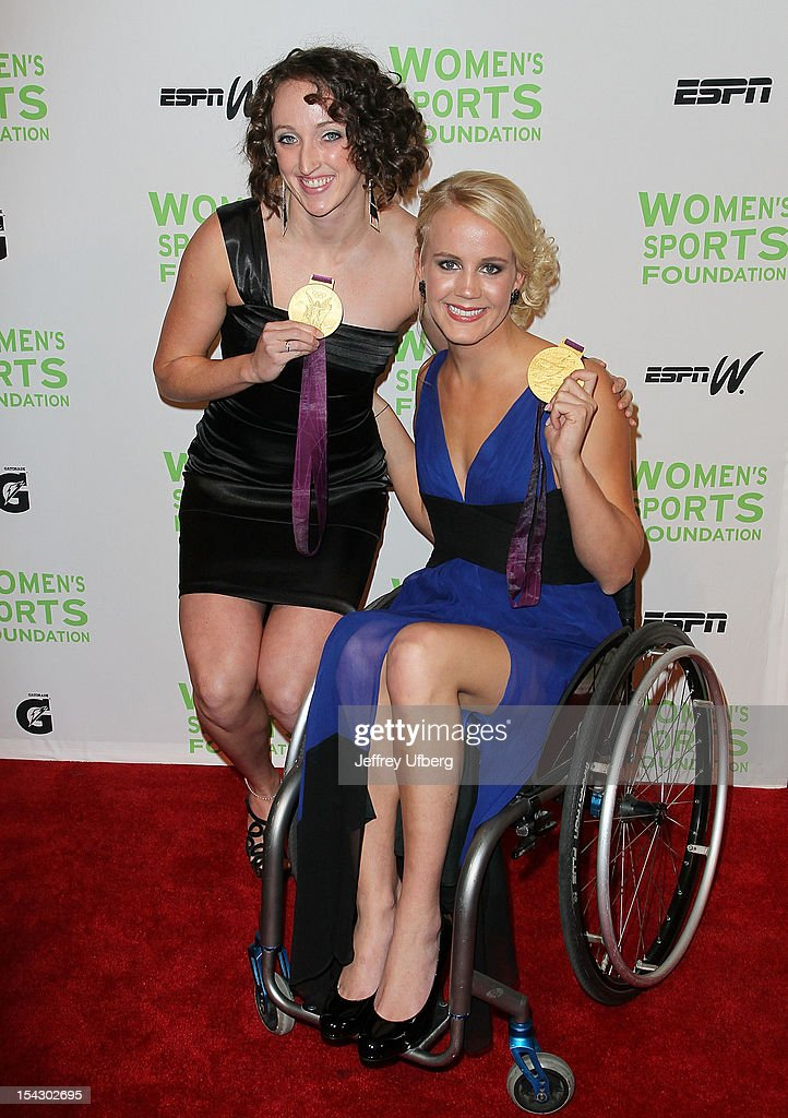 Olympic swimmer Claire Donahue and Paralympic swimmer Mallory Weggemann attend the 33rd Annual Salute To Women In Sports Gala at Cipriani Wall Street on October 17, 2012 in New York City.