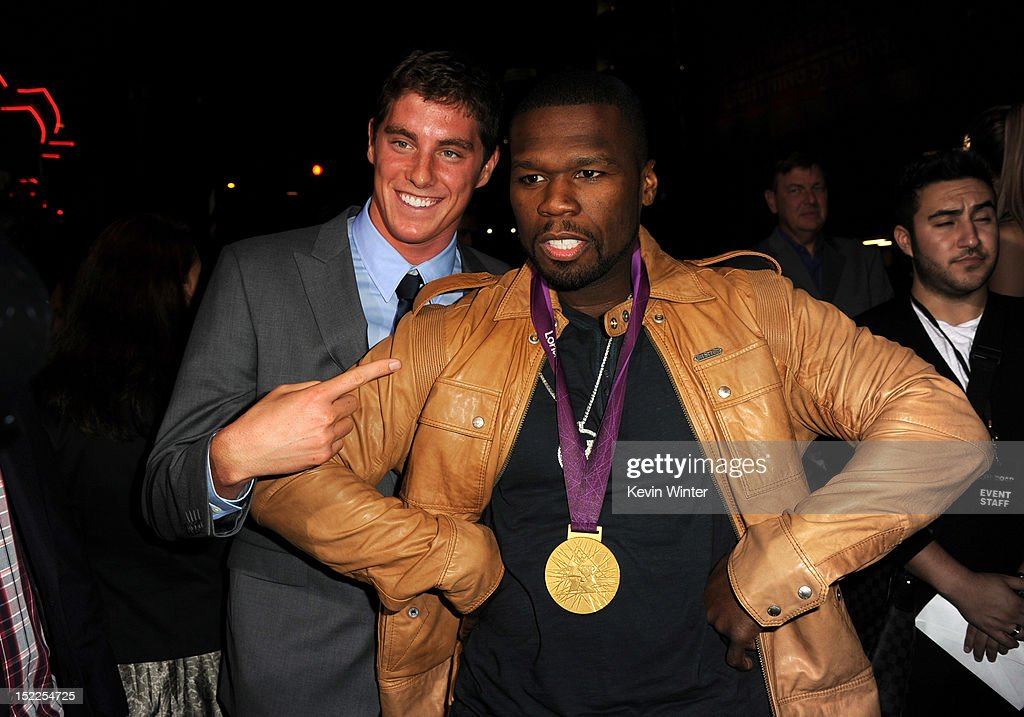 Olympic swimmer <a gi-track='captionPersonalityLinkClicked' href=/galleries/search?phrase=Conor+Dwyer&family=editorial&specificpeople=7988001 ng-click='$event.stopPropagation()'>Conor Dwyer</a> and rapper <a gi-track='captionPersonalityLinkClicked' href=/galleries/search?phrase=50+Cent+-+Rapper&family=editorial&specificpeople=215363 ng-click='$event.stopPropagation()'>50 Cent</a> arrive at the premiere of Open Road Films' 'End of Watch' at Regal Cinemas L.A. Live on September 17, 2012 in Los Angeles, California.