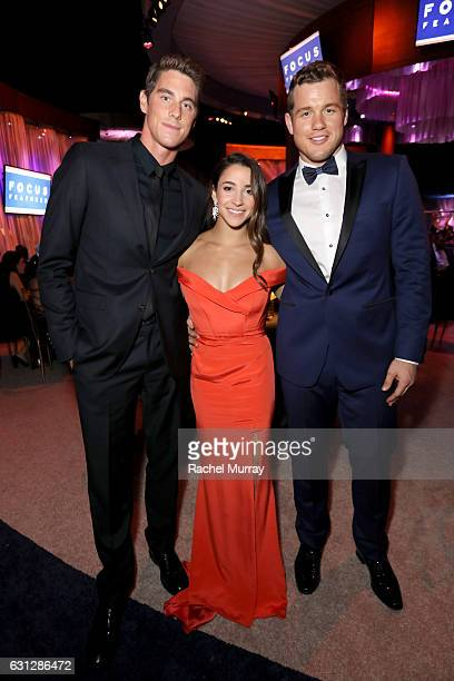 Olympic swimmer Conor Dwyer Olympic gymnast Aly Raisman and NFL player Colton Underwood attend the Universal NBC Focus Features E Entertainment...
