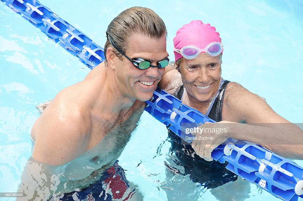 Olympic swimmer Gary Hall Jr and Diana Nyad prepare to swim during the 'Swim for Relief' benefiting Hurricane Sandy Recovery at Herald Square on...