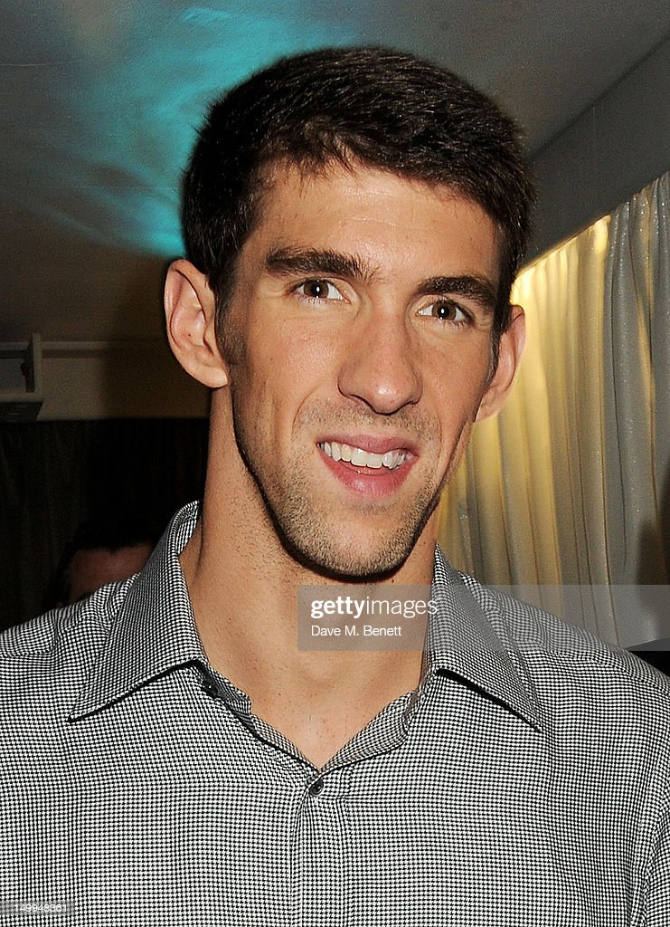 U.S. Olympic Swimmer <a gi-track='captionPersonalityLinkClicked' href=/galleries/search?phrase=Michael+Phelps&family=editorial&specificpeople=162698 ng-click='$event.stopPropagation()'>Michael Phelps</a> attends 'Spotlight On Swimming' at OMEGA House, OMEGA's official residence during the London 2012 Olympic Games, at The House of St. Barnabas on August 7, 2012 in London, England.