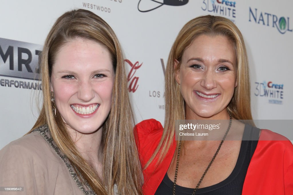 Olympic swimmer <a gi-track='captionPersonalityLinkClicked' href=/galleries/search?phrase=Missy+Franklin+-+Swimmer&family=editorial&specificpeople=6623958 ng-click='$event.stopPropagation()'>Missy Franklin</a> (L) and Olympic volleyball player Kerri Lee Walsh Jennings arrive at CW3PR Presents the inaugural 'Gold Meets Golden' event at New Flagship Equinox Sports Club on January 12, 2013 in Los Angeles, California.