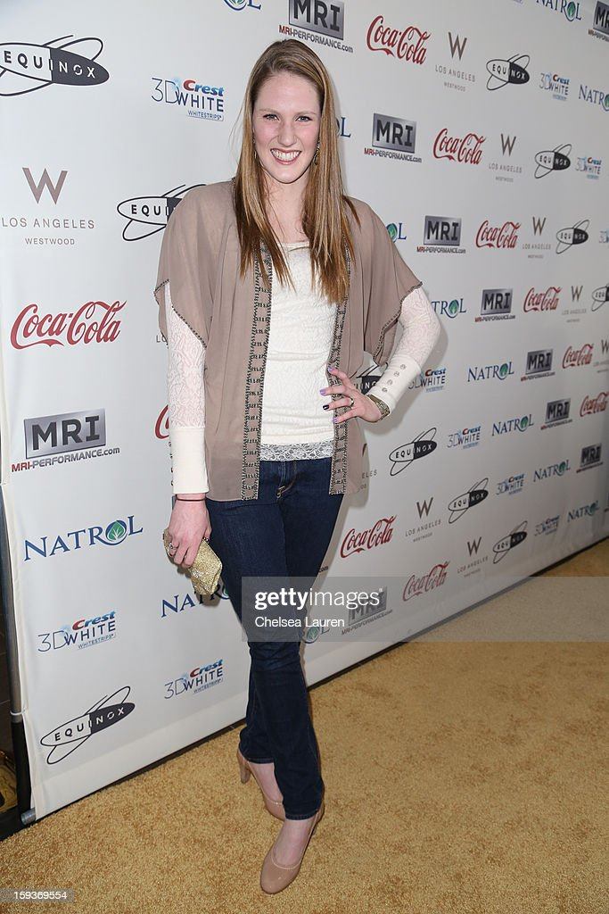 Olympic swimmer Missy Franklin arrives at CW3PR Presents the inaugural 'Gold Meets Golden' event at New Flagship Equinox Sports Club on January 12, 2013 in Los Angeles, California.