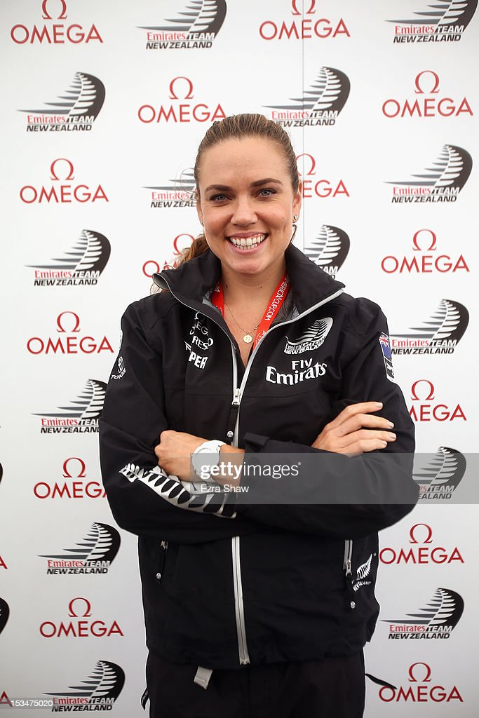 Olympic swimmer Natalie Coughlin poses for a photo before being a guest racer on the Emirates Team New Zealand boat skippered by Dean Barker in the sixth fleet race of the America's Cup World Series on October 5, 2012 in San Francisco, California. Teams are racing on an AC45 boat, which is the forerunner to the AC72 that teams will race next year in the Louis Vuitton Cup and America's Cup Finals in San Francisco.