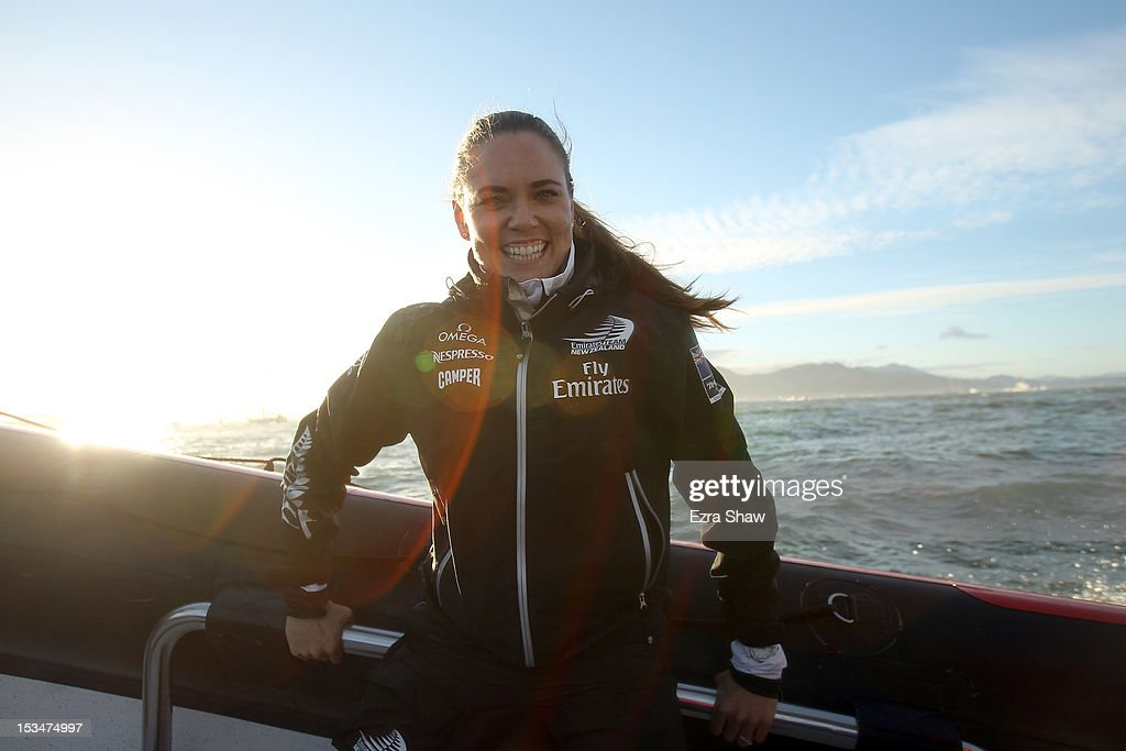 Olympic swimmer Natalie Coughlin rides on a chase boat after being a guest racer on the Emirates Team New Zealand boat skippered by Dean Barker in the sixth fleet race of the America's Cup World Series on October 5, 2012 in San Francisco, California. Teams are racing on an AC45 boat, which is the forerunner to the AC72 that teams will race next year in the Louis Vuitton Cup and America's Cup Finals in San Francisco.