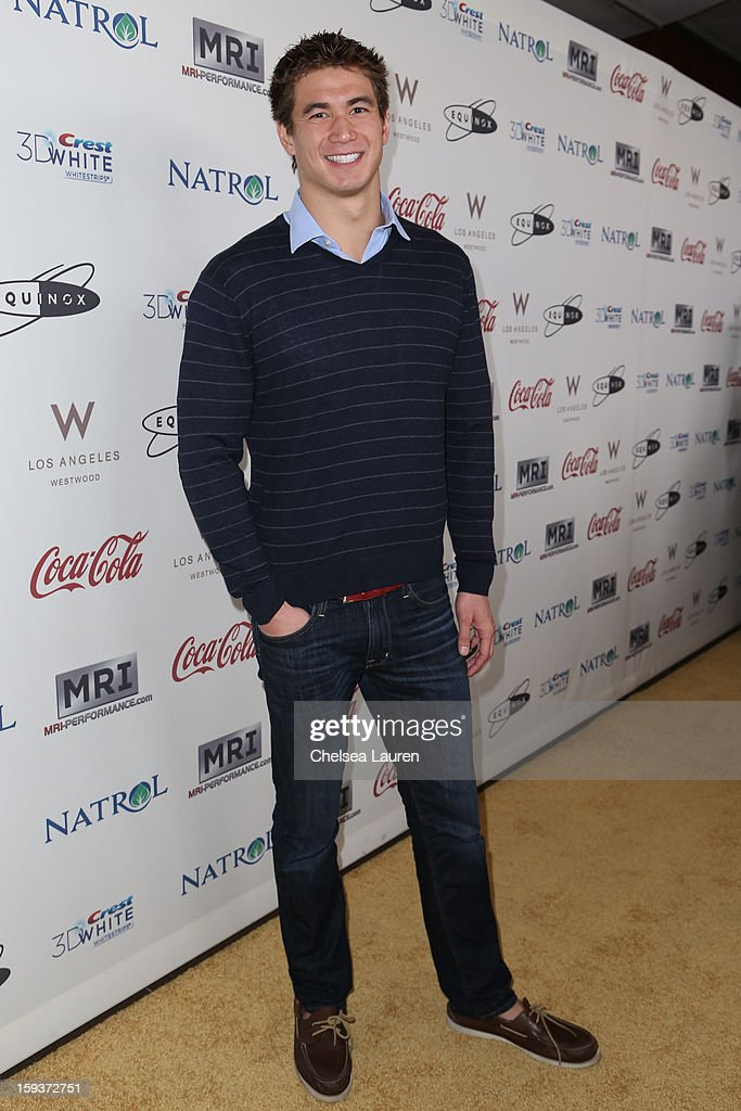 Olympic swimmer Nathan Adrian arrives at CW3PR Presents 'Gold Meets Golden' at Equinox Sports Club on January 12, 2013 in Los Angeles, California.